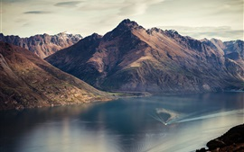 Preview wallpaper Lake Wakatipu, Queenstown, New Zealand, mountains, river, boat