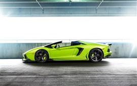 미리보기 배경 화면 람보르기니 Aventador LP-740 녹색 초차 측면보기