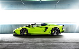 Lamborghini Aventador LP-740 supercarro verde vista lateral