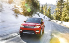 Preview wallpaper Land Rover Range Rover red car in winter