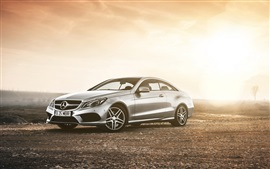 Preview wallpaper Mercedes-Benz E class coupe, car in dusk