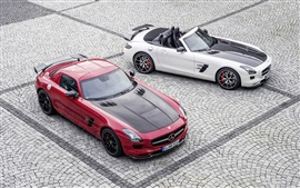 Preview wallpaper Mercedes-Benz SLS AMG red and white car
