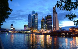 Preview wallpaper Moscow City, night, river, buildings, lights