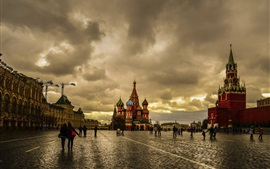 Preview wallpaper Moscow, Red Square, dusk, cloudy sky