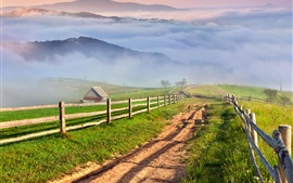 Nature scenery, countryside, mountains, grass, mist, village, road