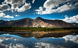 Preview wallpaper Nature summer, lake, mountain, forest, sky, clouds, water reflection