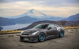 Preview wallpaper Nissan GT-R black supercar side view