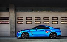 Nissan GT-R blue car side view