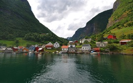 Preview wallpaper Norway, mountains, houses, village, lake
