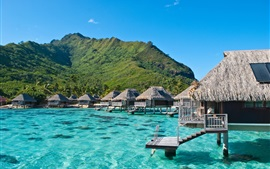 Preview wallpaper Ocean, sea, mountain, wooden houses, Moorea, French Polynesia