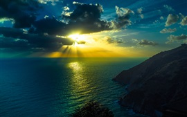 Ocean, sea, sky, clouds, sun rays, mountains, dusk