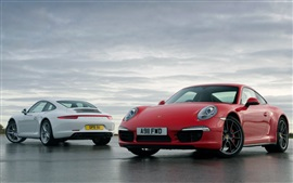 Preview wallpaper Porsche 911 white and red supercar