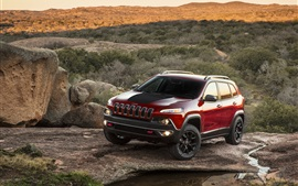 Red Jeep Cherokee car