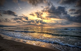 Preview wallpaper Sea waves, beach, sand, sky, clouds, sunset