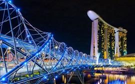 Cingapura, cidade da noite, hotel, ponte, luzes azuis