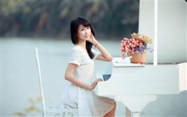 Preview wallpaper Smile asian girl, piano, music