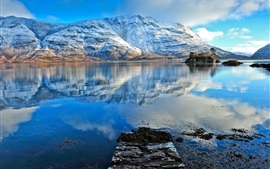 Snow mountains, lake, water reflection, blue