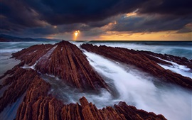 Spain, the Atlantic ocean, rocks, sea, water streams, sky, clouds Wallpapers Pictures Photos Images