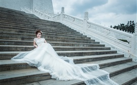 Preview wallpaper Stairs, white dress girl, bride, wedding