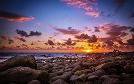 Preview wallpaper Stones, sea, beach, sunrise, sun, morning