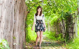 Preview wallpaper Summer asian girl, trees, green, fence