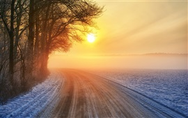 Preview wallpaper Sunset, road, winter, trees, warm sun