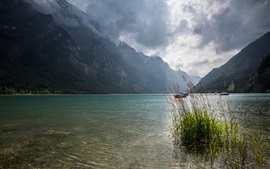 Switzerland, lake, mountains, clouds, boats Wallpapers Pictures Photos Images