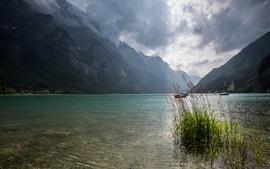 Suiza, Lago, montañas, nubes, barcos