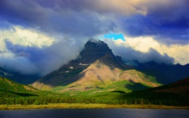 Preview wallpaper The Rockies, Montana, USA, Glacier National Park, mountain, lake, clouds