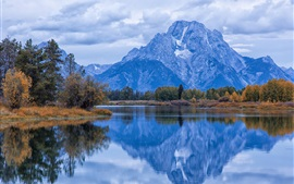 Preview wallpaper USA, Grand Teton National Park, Wyoming, autumn, river, morning, sky, clouds