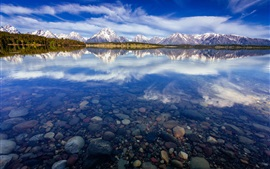 Preview wallpaper USA, Wyoming, National Park Grand Teton, Lake Jackson, water reflection