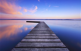 Preview wallpaper United Kingdom, England, lake, water, wooden bridge, evening