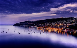 Preview wallpaper Villefranche, France, evening, city, sea, lights, houses, dusk