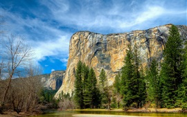 Preview wallpaper Yosemite National Park, Sierra Nevada, blue sky, mountains, river, trees