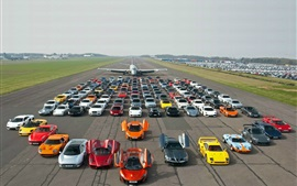 Preview wallpaper Aircraft, supercars, road