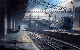 Preview wallpaper Armageddon, abandoned train station, creative pictures