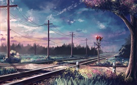 Art painted, trees, rails, poles, railroad