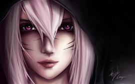 Art picture, girl, white hair, black background