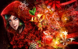 Preview wallpaper Art pictures, girl, Merry Christmas, gifts