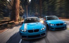 Preview wallpaper BMW M3 E92, M5 E60, blue car, forest, sparks