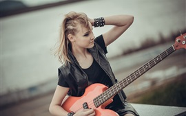 Preview wallpaper Blonde girl, guitar, music