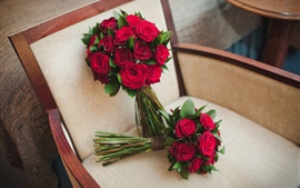Bouquet flowers, wedding, roses, chair