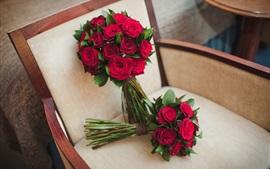 미리보기 배경 화면 꽃다발 꽃, 결혼식, 장미, 의자