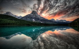 Preview wallpaper Canada, lake, mountains, sunset, water reflection