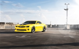Preview wallpaper Chevrolet Camaro RS yellow supercar front view