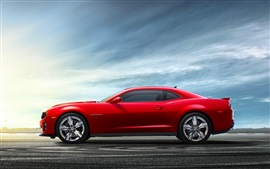 Chevrolet Camaro red car side view Wallpapers Pictures Photos Images