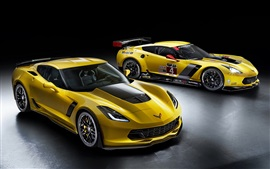 Preview wallpaper Chevrolet Corvette, Z06, C7.R GT2, yellow supercar