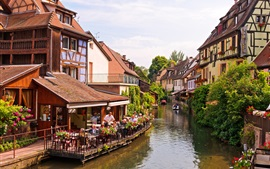 Preview wallpaper Colmar, Alsace, France, river, houses