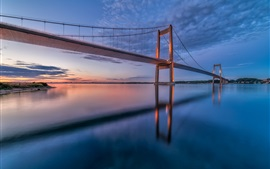 Denmark, Little Belt Bridge, sunset, sky, clouds, water reflection