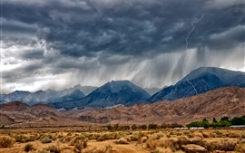 Preview wallpaper Eastern Sierra, Nevada, mountains, desert, lightning